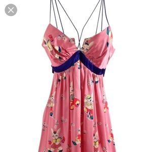 Silk Bunny Print Dress